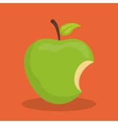 Green apple biten vector image