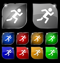 simple running human icon sign Set of ten colorful vector image vector image