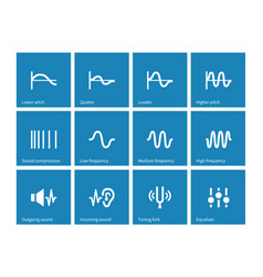 sound wave types icons on blue background vector image vector image