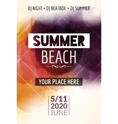 Summer beach party flyer template design Summer vector image
