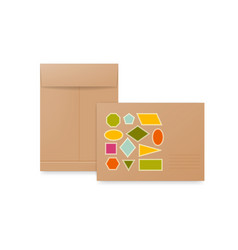 white beige and brown paper envelopes realistic vector image