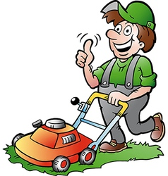 Hand-drawn of an happy Gardener with his law vector image vector image