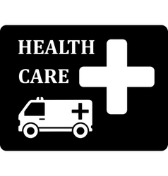 black icon with ambulance car vector image vector image