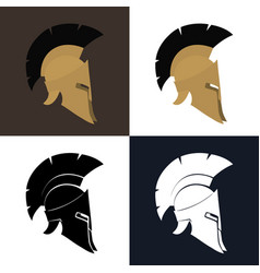Color and silhouette antiques helmet vector