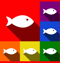 fish sign set of icons with vector image