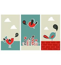 Fresh social media birds communication vector image