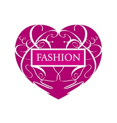 logo fashionable heart of patterns vector image