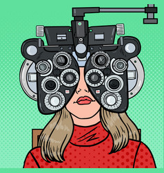 pop art woman patient at optometric clinic vector image vector image
