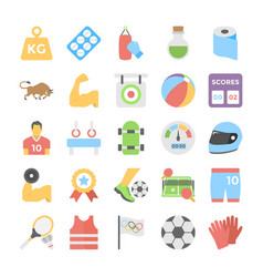 Sports and games flat colored icons 4 vector