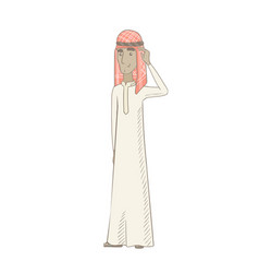 young muslim man scratching his head vector image
