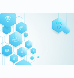 Abstract blue hexagons social icon technology vector