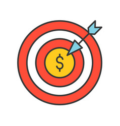 arrow and dartboard goal for financial success vector image