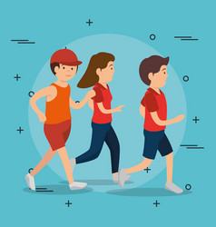 athletic people practicing exercise characters vector image