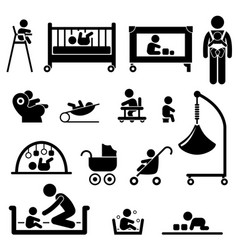 Baby child newborn toddler kid equipment stick vector