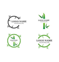 Bamboo with green leaf for your logo icon vector