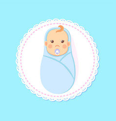 bashower greeting card swaddled boy with nipple vector image