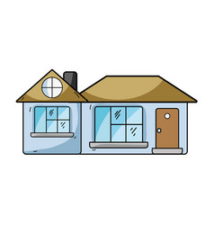 big house with roof and windows with door vector image