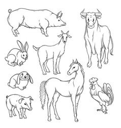 Black and white sketch set of isolated farm vector