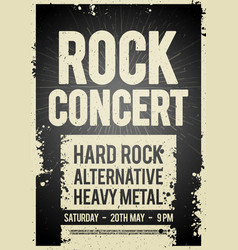 black rock concert retro poster design vector image
