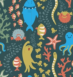 Bright seamless pattern with colorful fishes sea vector