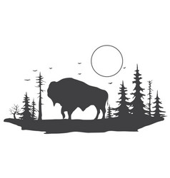 bull in forest vector image