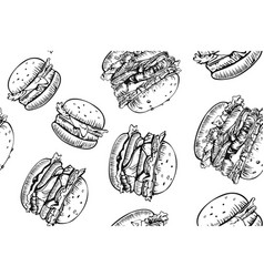 burgers seamless pattern hand drawn hamburger and vector image