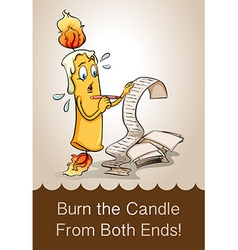 Burn candle from both ends vector