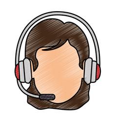 Call center receptionist avatar vector