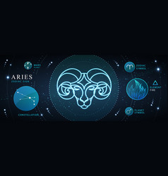 Card with astrology neon aries zodiac sign vector