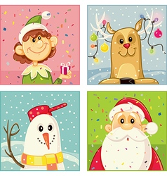 Christmas Cartoon Characters Set vector image