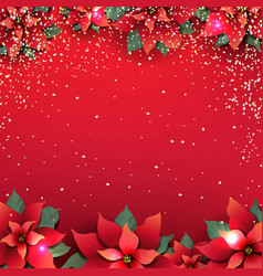 christmas poster with red poinsettia flower vector image
