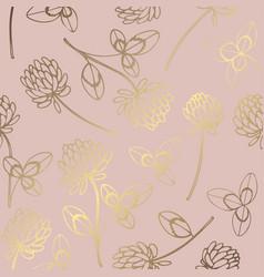 clover rose gold elegant pattern with clover vector image