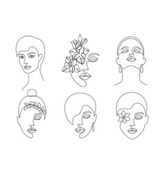 collection women faces vector image