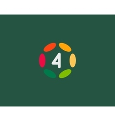 Color number 4 logo icon design Hub frame vector image