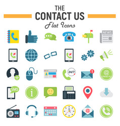 Contact us flat icon set web button signs vector