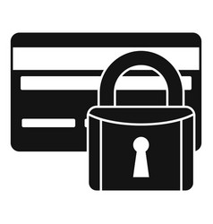 Credit card locked icon simple style vector