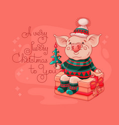 cute cheerful pig sits on a gift box vector image