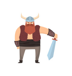 cute viking warrior with horn helmet and steel vector image