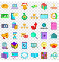 data center icons set cartoon style vector image
