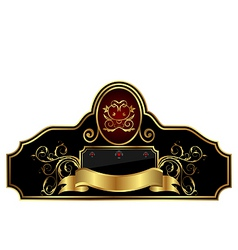 Decorative gold frame label vector