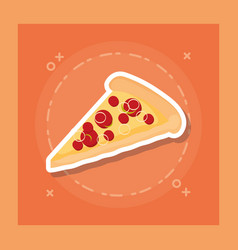 delicious pizza portion icon vector image