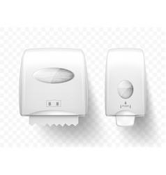 Dispensers liquid soap and paper towels realistic vector