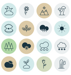 Ecology icons set collection of bush plant vector