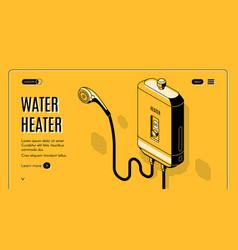 efficient water heater isometric website vector image
