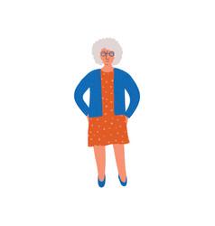 elderly grey woman senior lady standing vector image