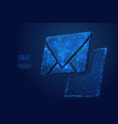 Email on tablet low poly blue vector