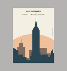 Empire state building ny usa vintage style vector