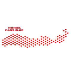 Flores island of indonesia map - mosaic of love vector