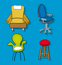 four cartoon chairs and sofa in cartoon style vector image