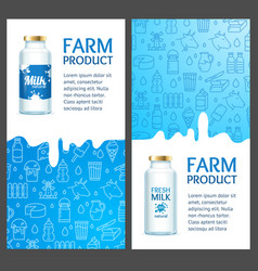 fresh milk banner vertical set with realistic vector image